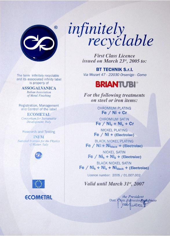 certificazione briantubi infinitely recyclable