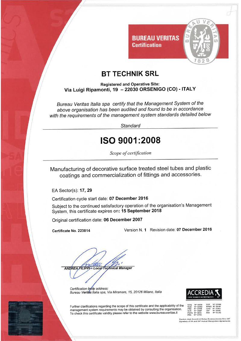 certificazione briantubi iso 9001